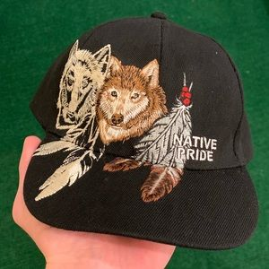 Vintage 90s Embroidered wolves native pride hat